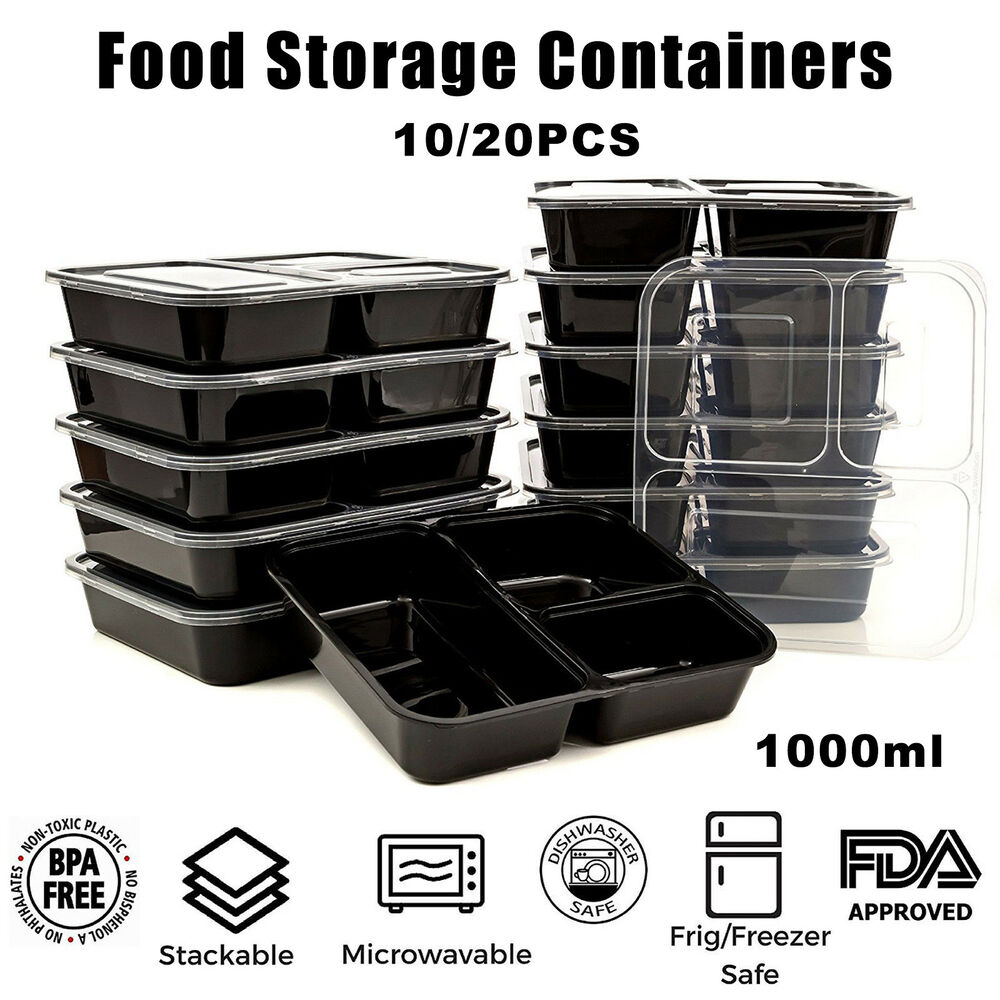 10/20pcs Microwavable Meal Prep Containers Plastic Food Storage Reusable Box L  sc 1 st  eBay & Inidual Food Storage Containers | eBay Aboutintivar.Com