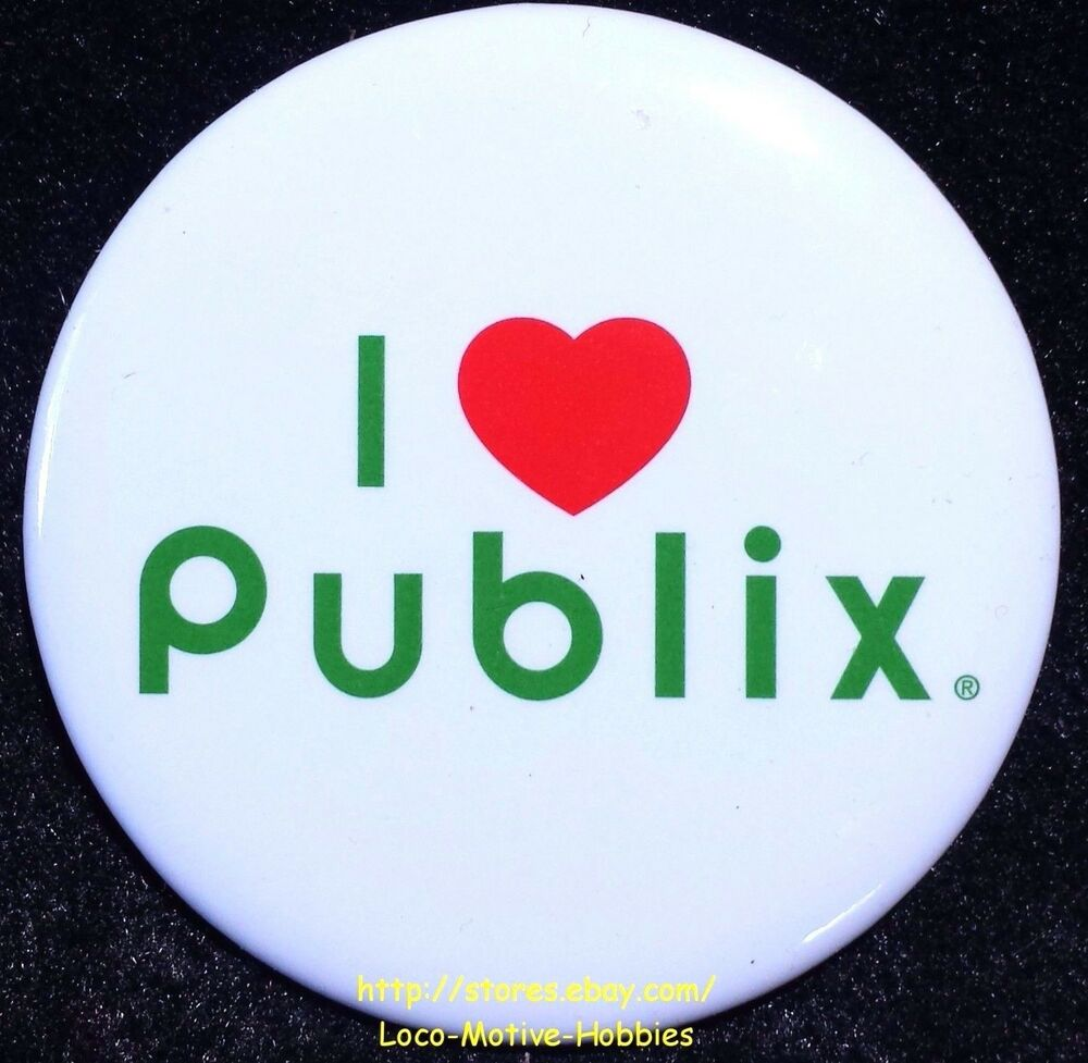 LMH PINBACK Button Pin PUBLIX Grocery Food Store I HEART Love Slogan ...