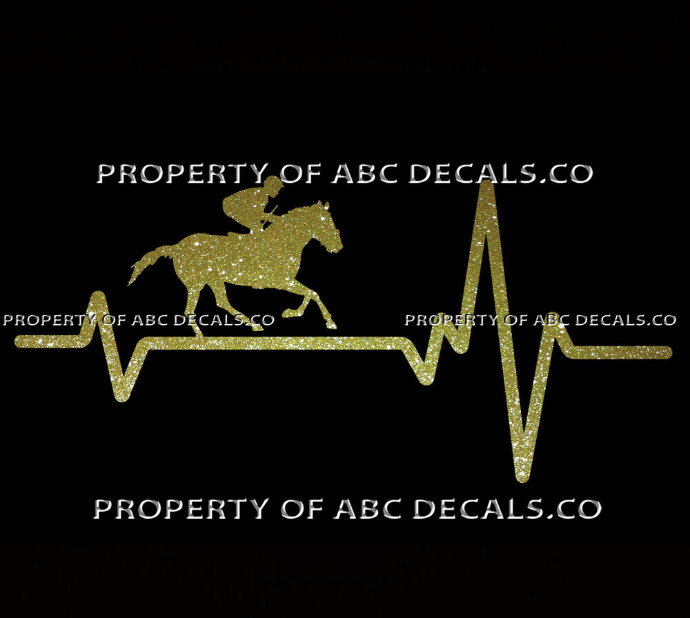 Details about vrs heart beat line horse jockey thoroughbred race bet whip out car metal decal