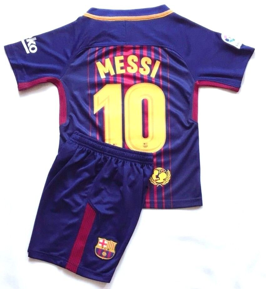 02d64bf3bfb Details about 2018 New Season Kids Soccer Jersey Barcelona Home #10 Messi  Kit Top+Shorts Sets