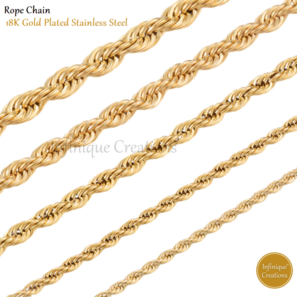 24k gold plated stainless steel rope chain necklace men