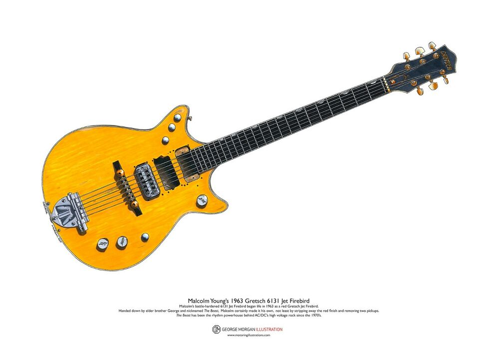 Malcolm young s 1963 gretsch 6131 jet firebird art poster for Malcolm x fenetre