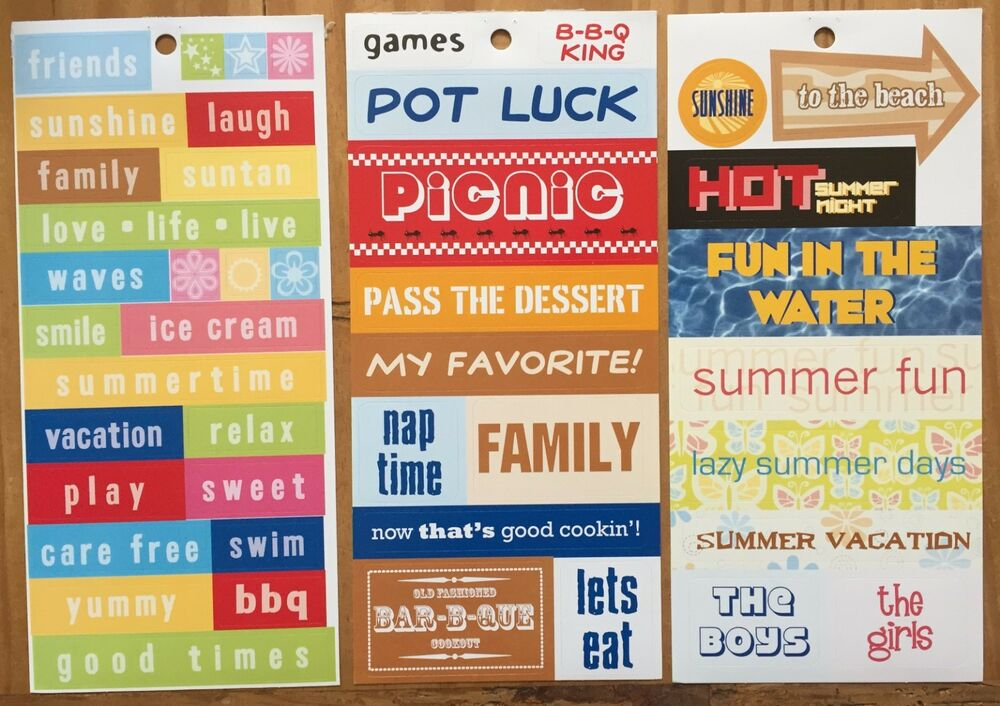 3 Sheets Summer Quotes Phrase Title Vacation Picnic Bbq Scrapbook