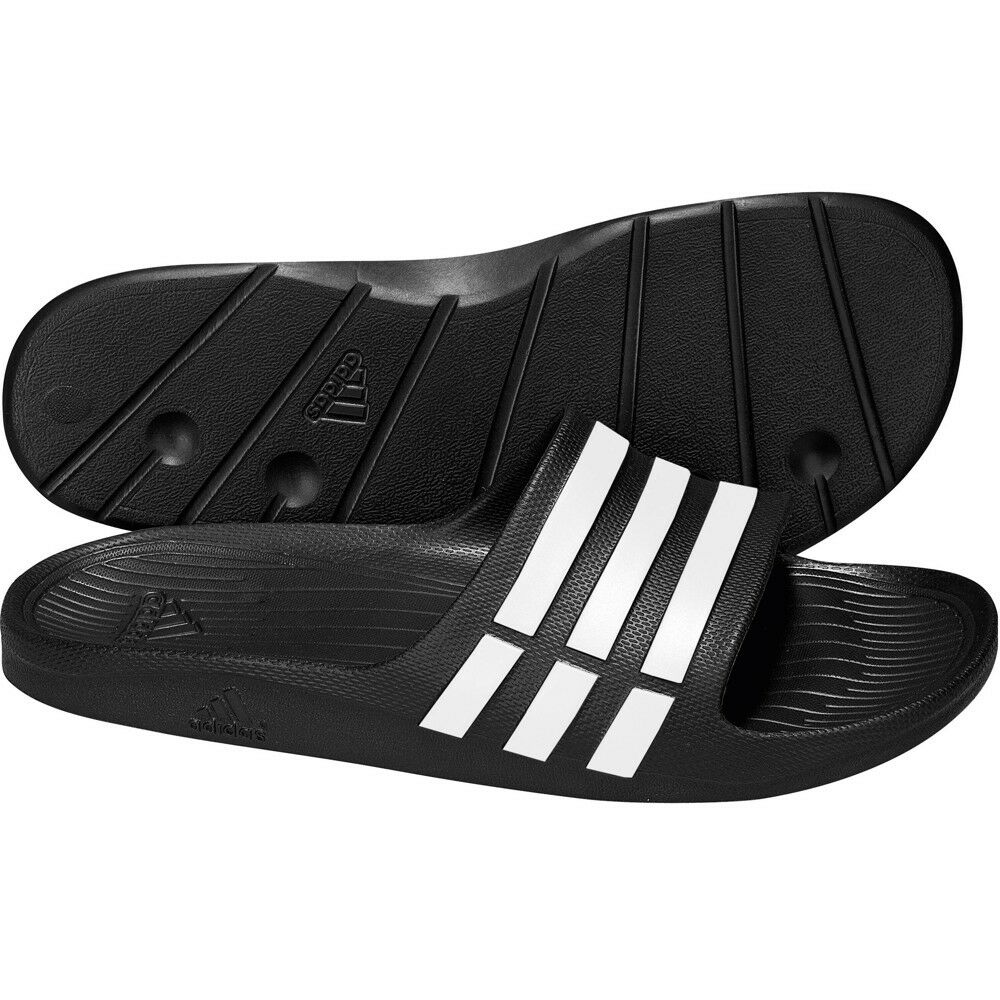 48fb81711eaf Details about NEW ADIDAS MENS DURAMO SLIDE FLIP FLOPS SANDALS POOL SHOES  BLACK SIZES 6-18