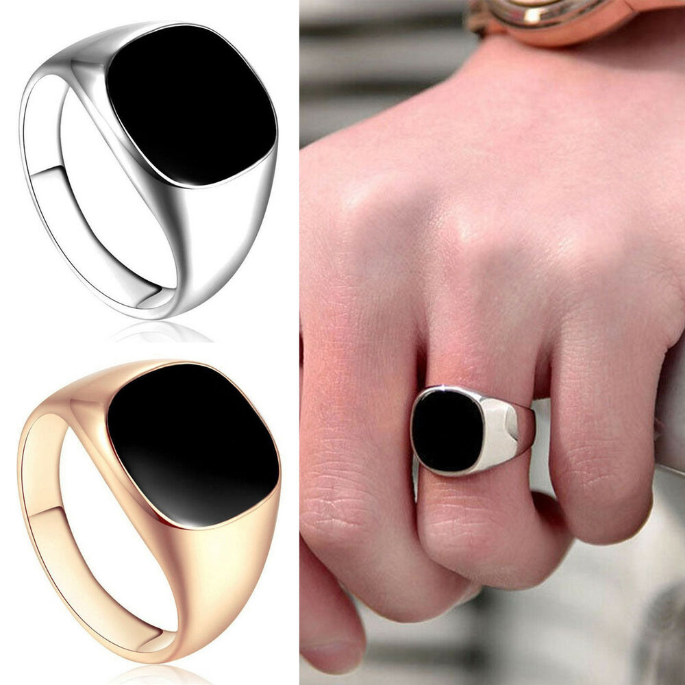 18ct Gold Filled Black Onyx Mens Signet Wedding Band Pinky Ring Size ...