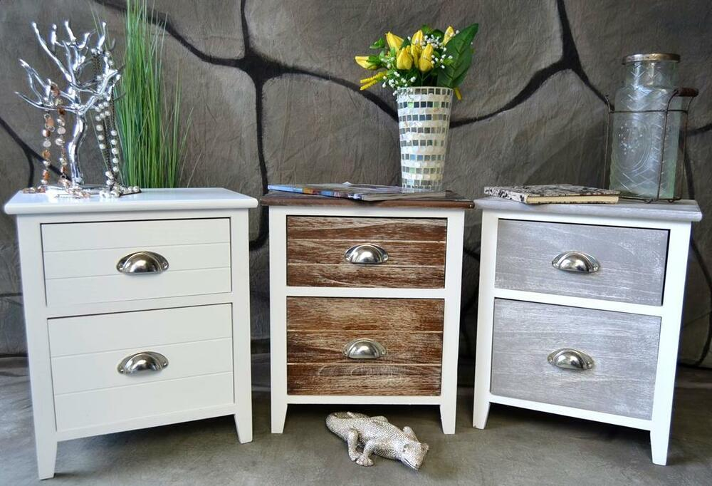 kleine kommode nachttisch nachtschrank nachtkonsole landhaus shabby vintage lv ebay. Black Bedroom Furniture Sets. Home Design Ideas