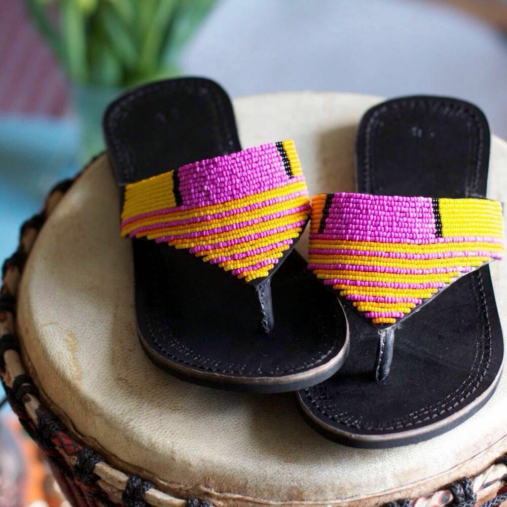 f6f918c85 Details about Masai beaded leather sandals handmade in Africa new ladies  shoes slippers