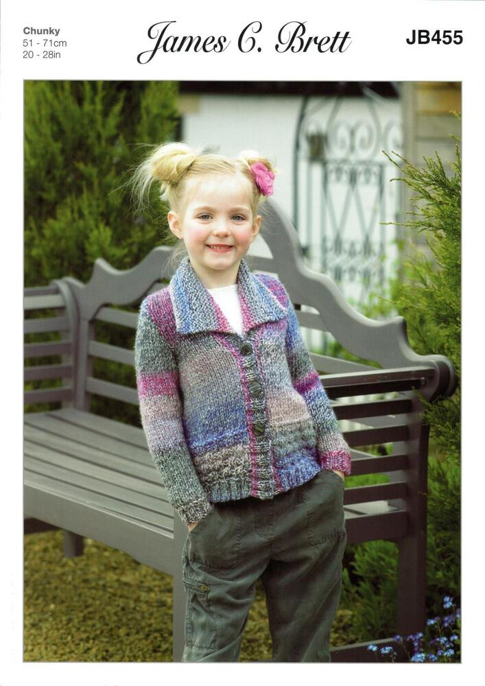 dd5c2b7ab James C Brett JB455 Knitting Pattern Girls Collared Cardigan in Marble  Chunky