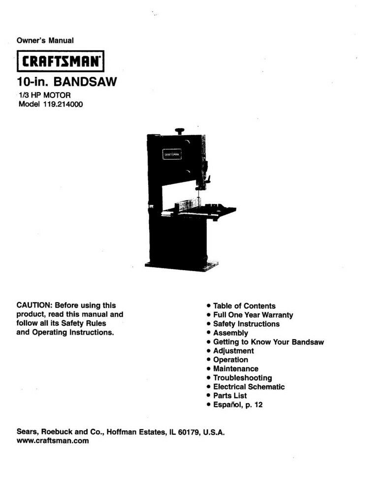 Craftsman 119 214000 Band Saw Owners Instruction Manual