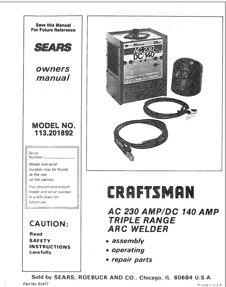 Craftsman 113.201892 Arc Welder Owners Instruction Manual | eBay