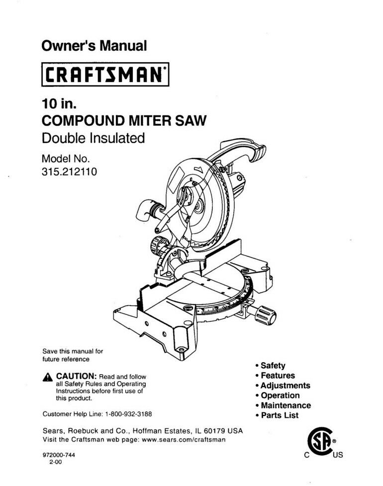 Craftsman 315 212110 Miter Saw Owners Instruction Manual