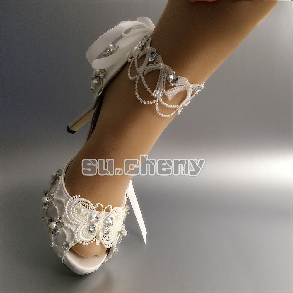 "3 4 Heel White Ivory Satin Lace Ribbon Open Toe Wedding: Su.cheny Open Toe 3"" 4"" Heel White Ivory Satin Lace Ribbon"