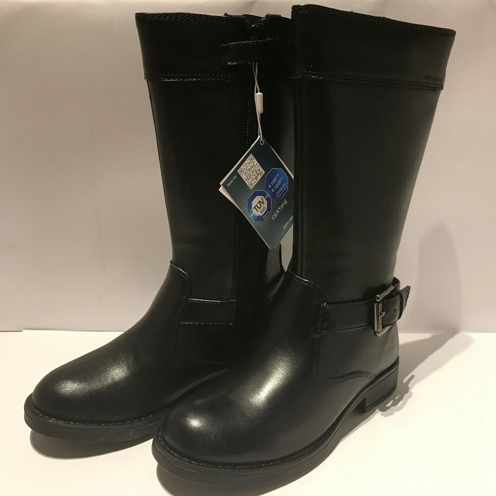 9ddaf91e8e77 Details about Geox J Sofia Girls Black Tall Leather Boots Size 11 UK