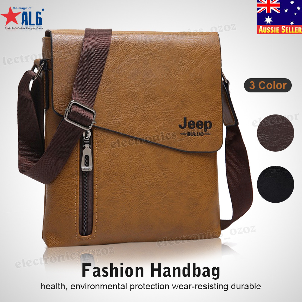 e46b090a69 Details about JEEP BULUO Men s Messenger Shoulder Crossbody Travel Bag High  Quality Leather