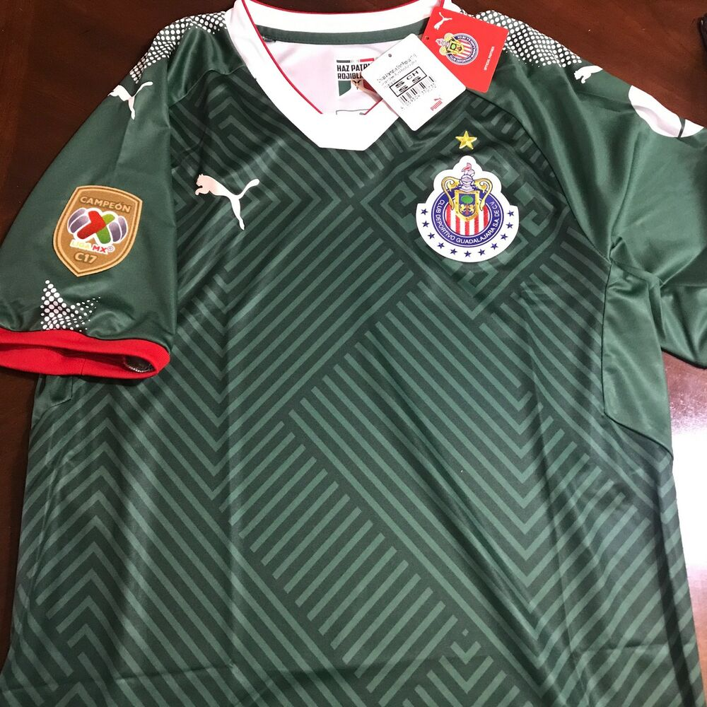 eb54ce9a537a9 Details about Chivas Champion 3rd Green Jersey Verde Chivas Campeon 17 18  Mexico America Rayad
