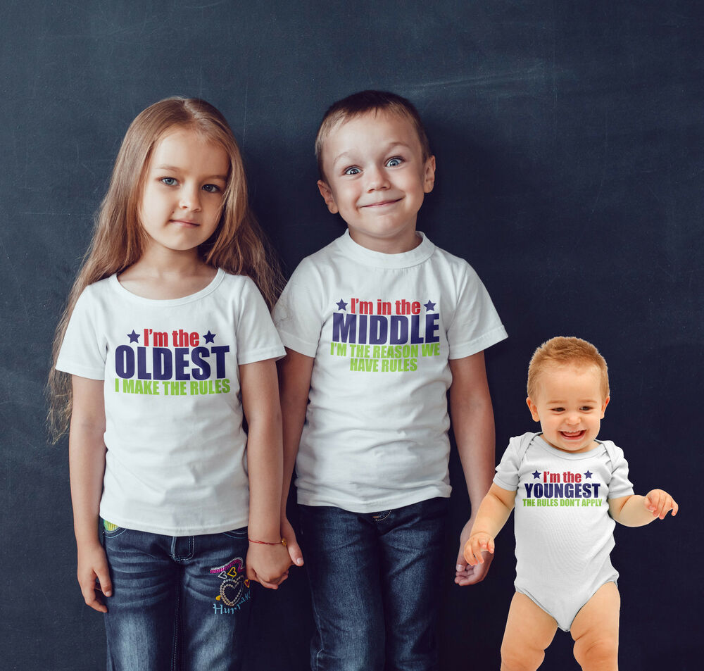 35e73b457 Details about Sibling T shirt set of 3 Oldest .Middle ,Youngest Family rules  funny t shirt