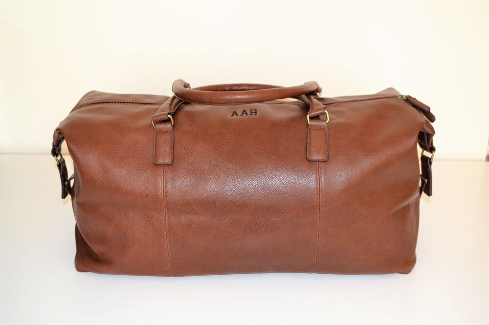 7512231689e Mens PERSONALISED Travel luggage gift faux leather weekend duffle bag,  holdall | eBay