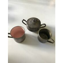 Lot of sterling plated vintage baby cups and container