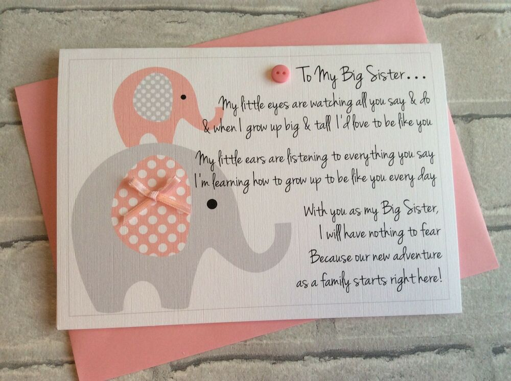 Personalised New Big Sister Or Brother Card From Baby -4007