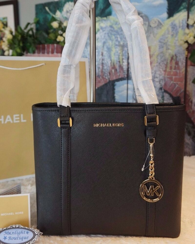 51eff7560 Details about NWT Michael Kors SADY Small N/S Top Zip TOTE Bag Saffiano  Leather In BLACK $328
