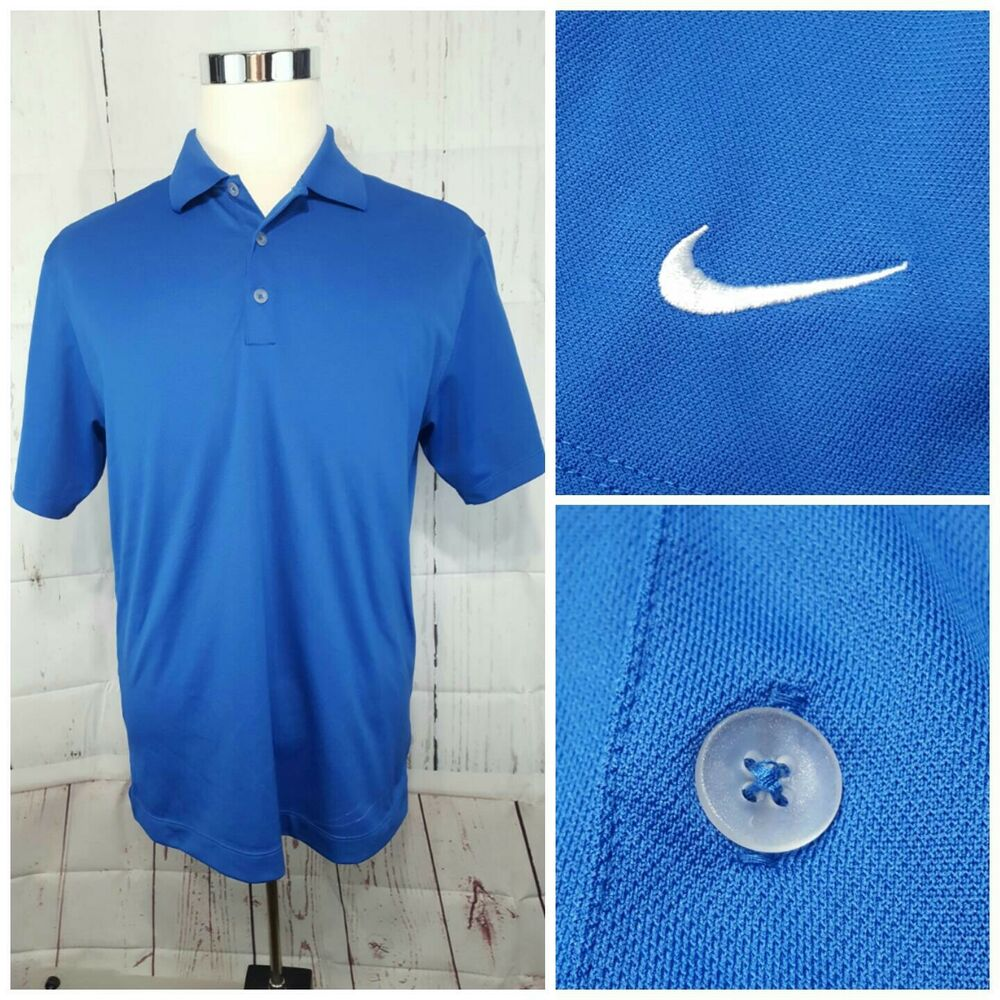 Mens Nike Golf Dri Fit Ss Polo Shirt Size M Medium Blue Ebay