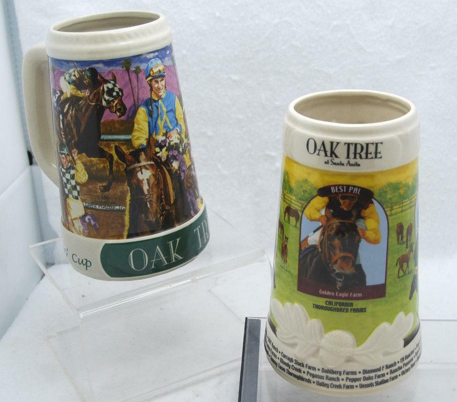 Lot Of 2 Oak Tree Santa Anita Race Track 7 Quot Beer Stein Ebay