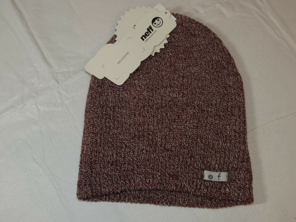 13cbd3d83 Details about NEFF Daily Beanie knit hat skull cap lid NEW One Size maroon  white NF00001 NWT