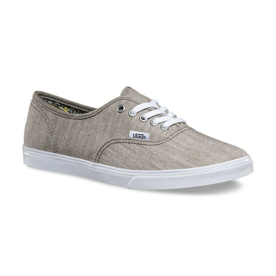 3061075eb0 Details about VANS Authentic Lo Pro (Floral Chambray) Gray True White  WOMEN S 10