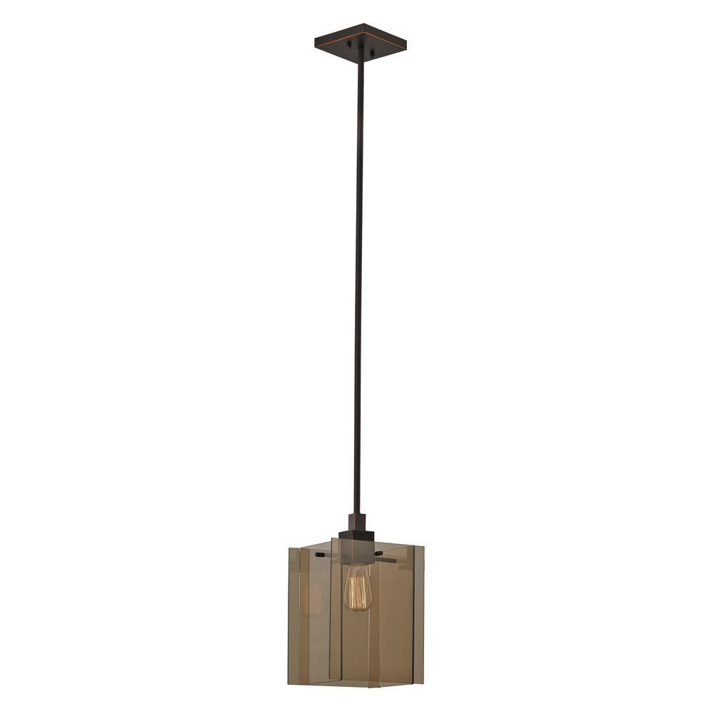 Oil Rubbed Bronze Pendant W/ Smoked Glass Shade Adjustable