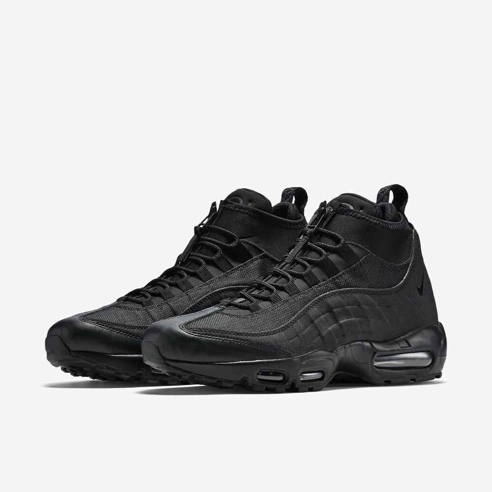 ddfe8cab48b1e Details about Nike Air Max 95 Winter Black/Black All Triple Blackout Zip  Sneakerboot Boot NEW