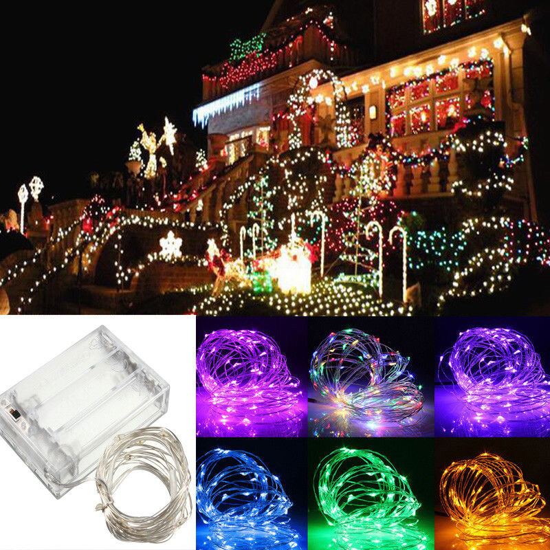 2510m aa battery operated led copper wire string fairy lights xmas party