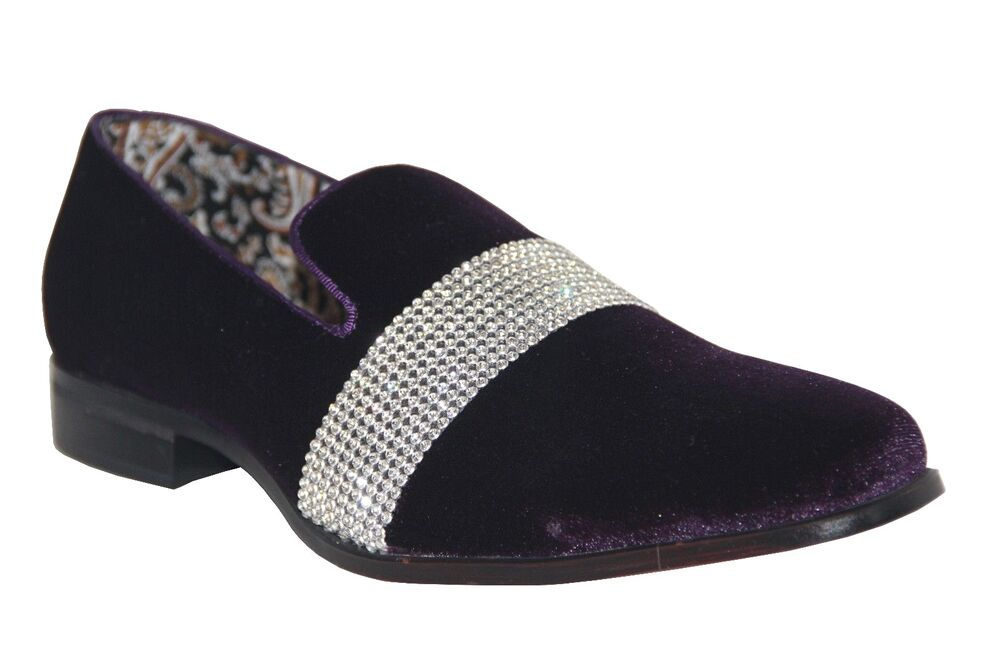 After Midnight Mens Fancy Dress Shoes Purplesilver Slip On Loafers