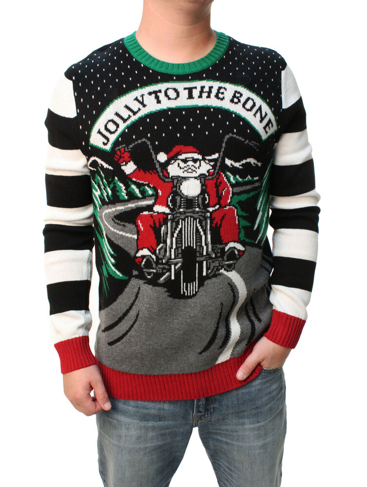 Ugly Christmas Sweater Men S Jolly To The Bone Led Light Up Sweatshirt Ebay