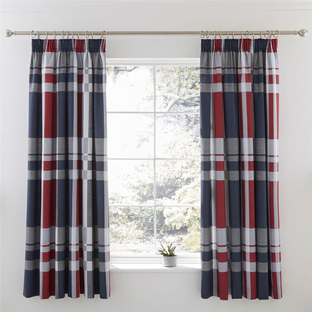 Curtains & Blinds Tiebacks Pair Brand New United Oxford Check Lined Curtains