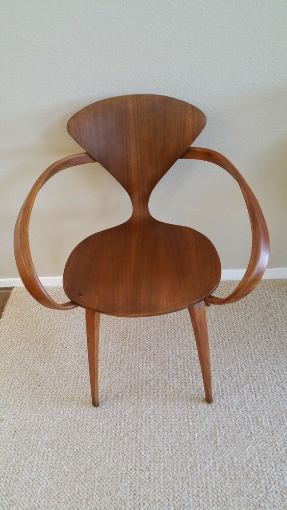vintage walnut armchair by norman cherner for plycraft pretzel chair ebay