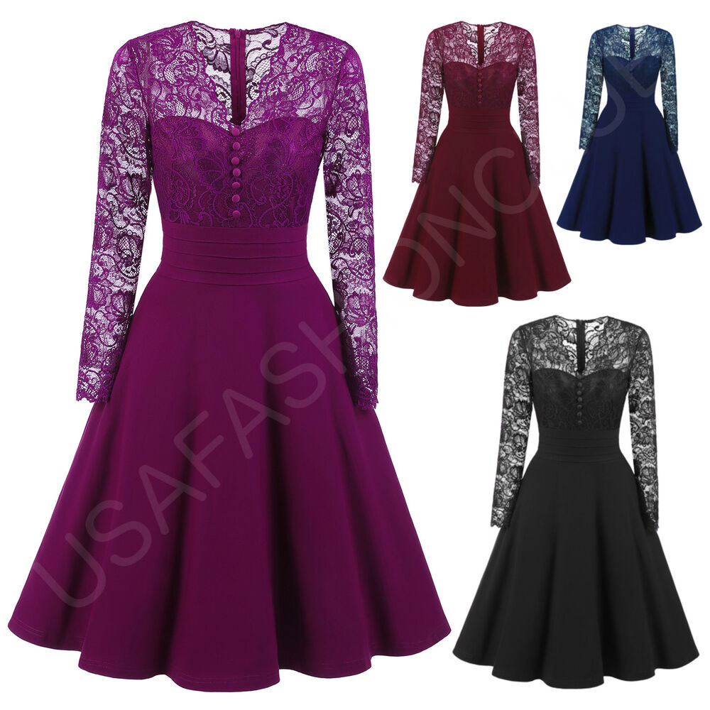 Women's New Vintage Lace Formal Wedding Cocktail Evening