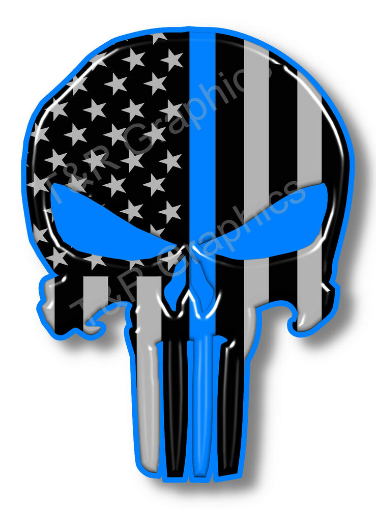 Blue Lives Matter Punisher Skull Sticker Decal Usa
