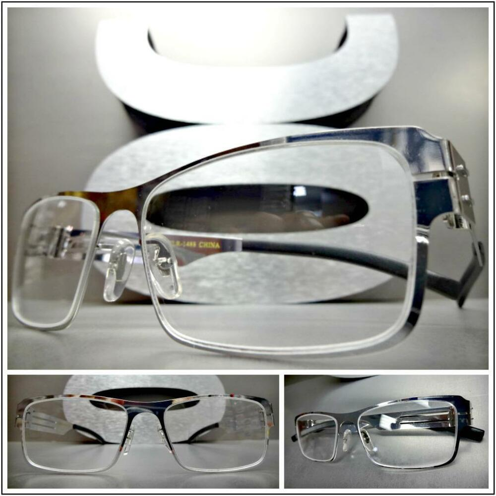 d6b14a00f7 Details about Mens CLASSY SOPHISTICATED Clear Lens EYE GLASSES Rectangular  Silver Chrome Frame