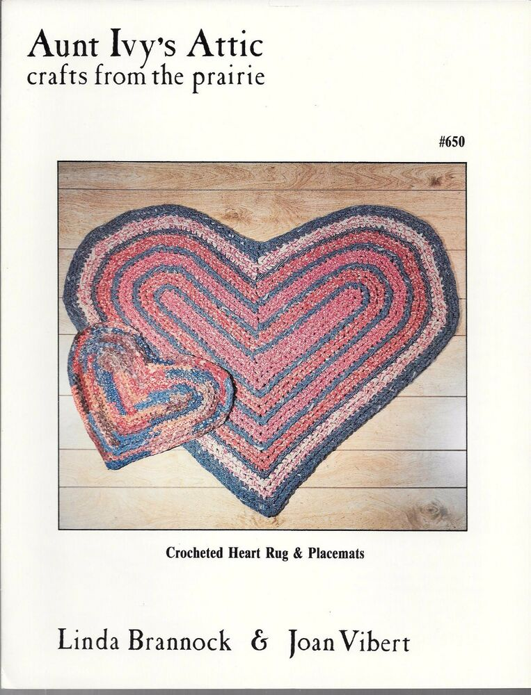 Crocheted Heart Rug Placemats Aunt Ivys Attic Crafts From The