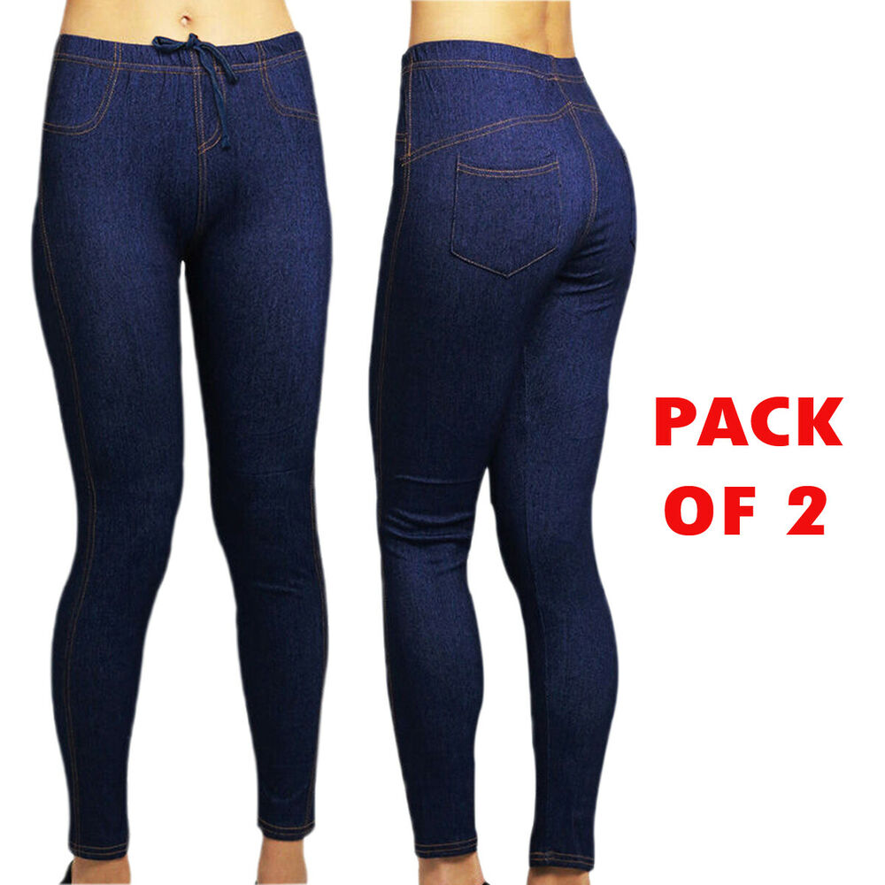 4931de9c06f45 Details about Pack of 2 Jeggings Ladies Full Length Denim Look Stretch  Jegging Womens UK 6-28