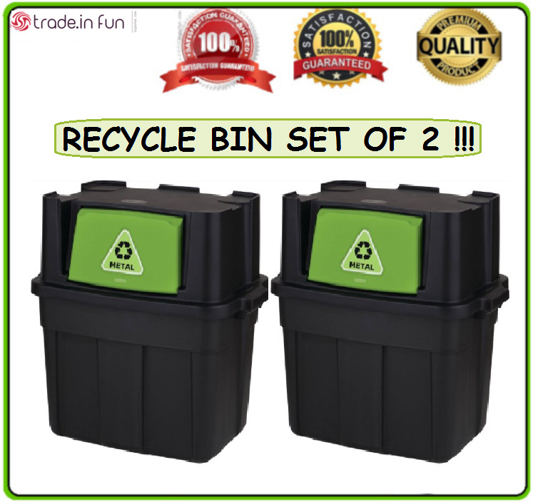 Kitchen Trash Can 18 Gallon Recycling Waste Stackable Garbage Bin SET OF 2