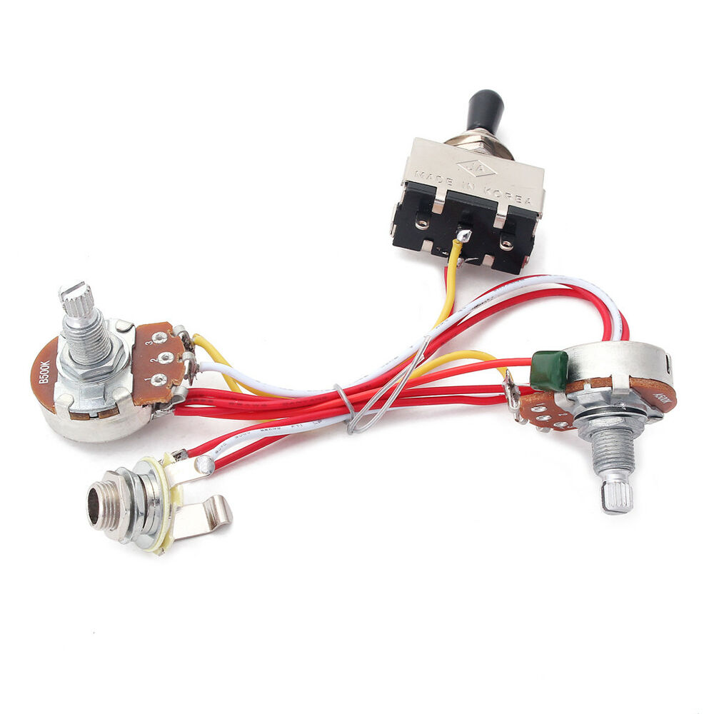 Guitar Wiring Harness Kit 3 Way Toggle Switch 500k For Cigar Box Emg Solderless 1 Or 2 Pickups Long Shaft Ebay