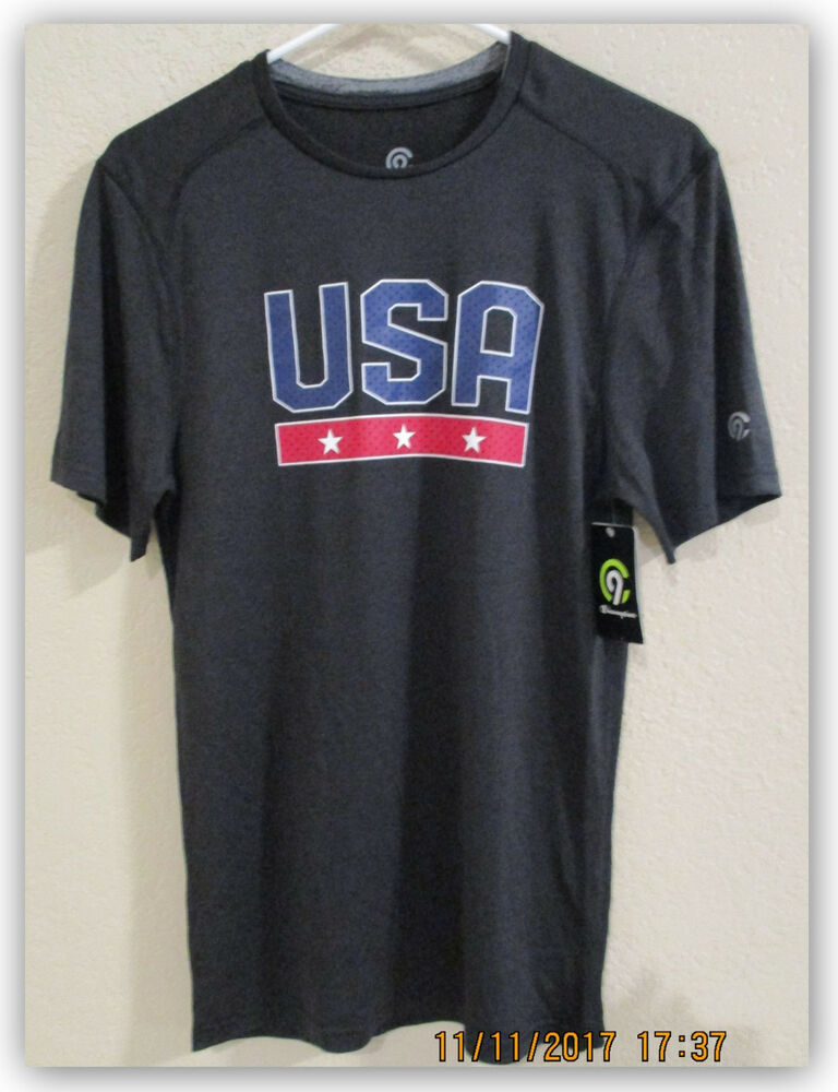 7dcbda90c Details about C9 Champion Men's U.S.A.T-Shirt Black Athletic Duo Dry  moisture wicking