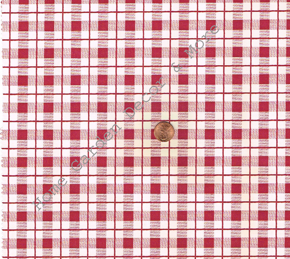 Red White Plaid Gingham Check Vinyl Contact Paper Shelf