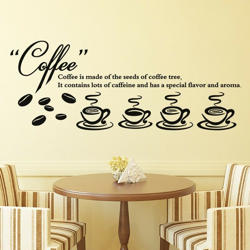 coffee shop wall stickers dining room for kitchen tea art decal bar