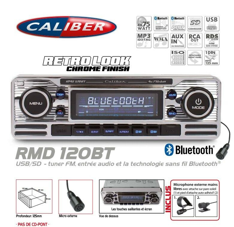 autoradio vintage look retro usb sd sans lecteur cd bluetooth rmd120bt caliber ebay. Black Bedroom Furniture Sets. Home Design Ideas