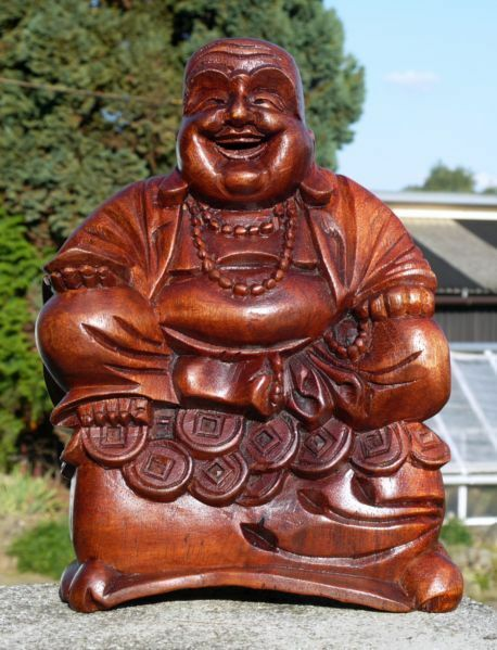 super sch ner buddha happy geld holz budda feng shui bhgeld ebay. Black Bedroom Furniture Sets. Home Design Ideas