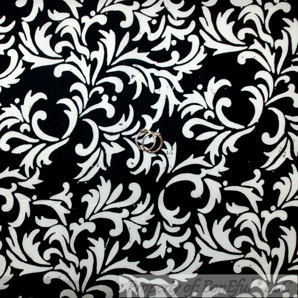 BonEful Fabric FQ Cotton Quilt B&W Black White Batik