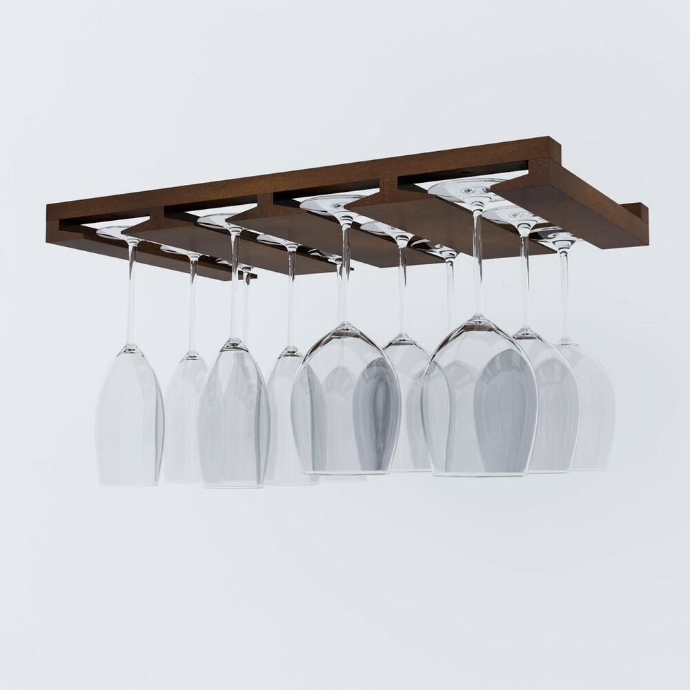 Wine Glass Rack Under Cabinet Stemware Holder Bar Hanger Kitchen