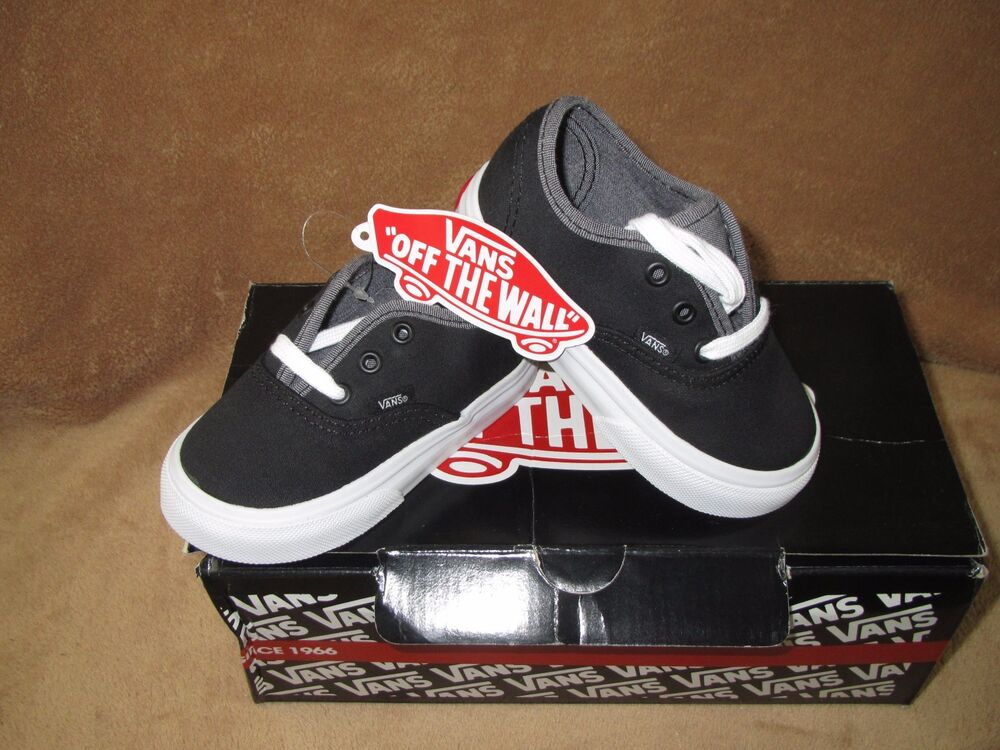 Details about NEW VANS AUTHENTIC SKATE SHOE BLACK GREY TODDLER 5.5T dde27dfea